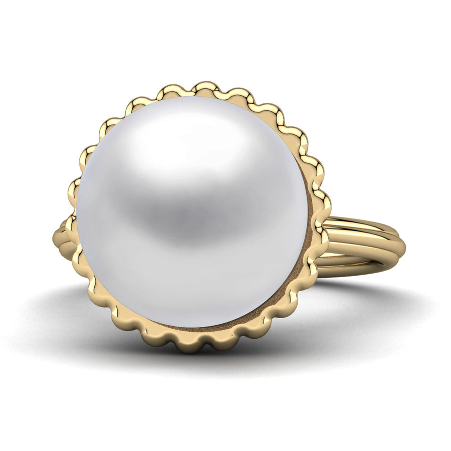 Swirl Pearl Ring-18K Yellow Gold-South Sea-South Sea White