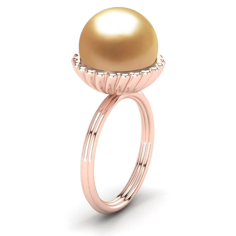 Swirl Pearl Ring-18K Rose Gold-South Sea Golden-Deep Golden