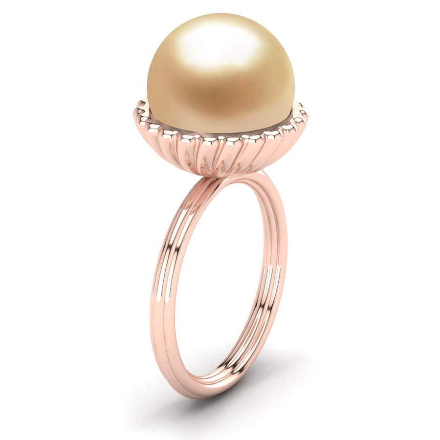 Swirl Pearl Ring-18K Rose Gold-South Sea Golden-Golden