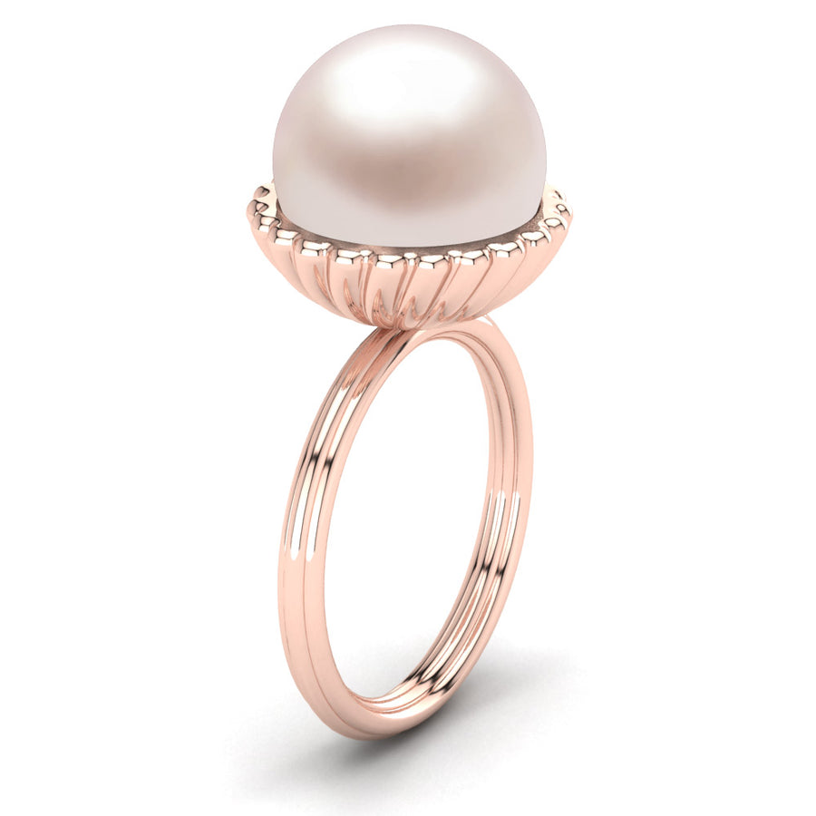 Swirl Pearl Ring-18K Rose Gold-South Sea-South Sea Rose