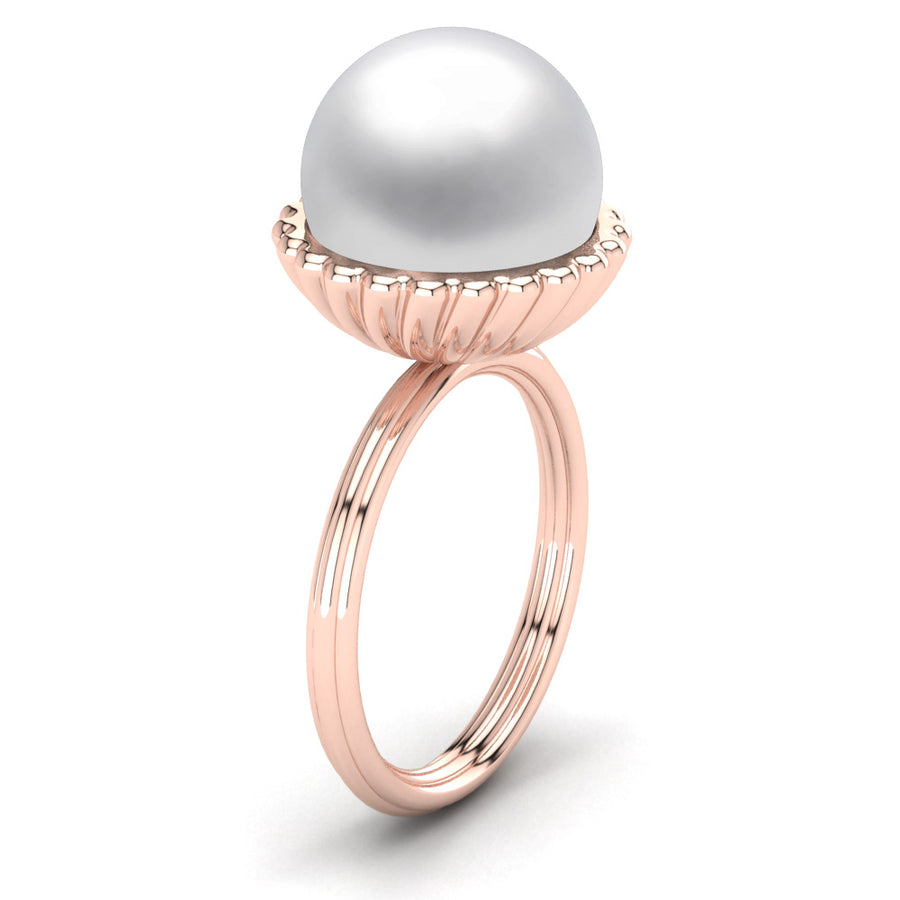 Swirl Pearl Ring-18K Rose Gold-South Sea-South Sea White