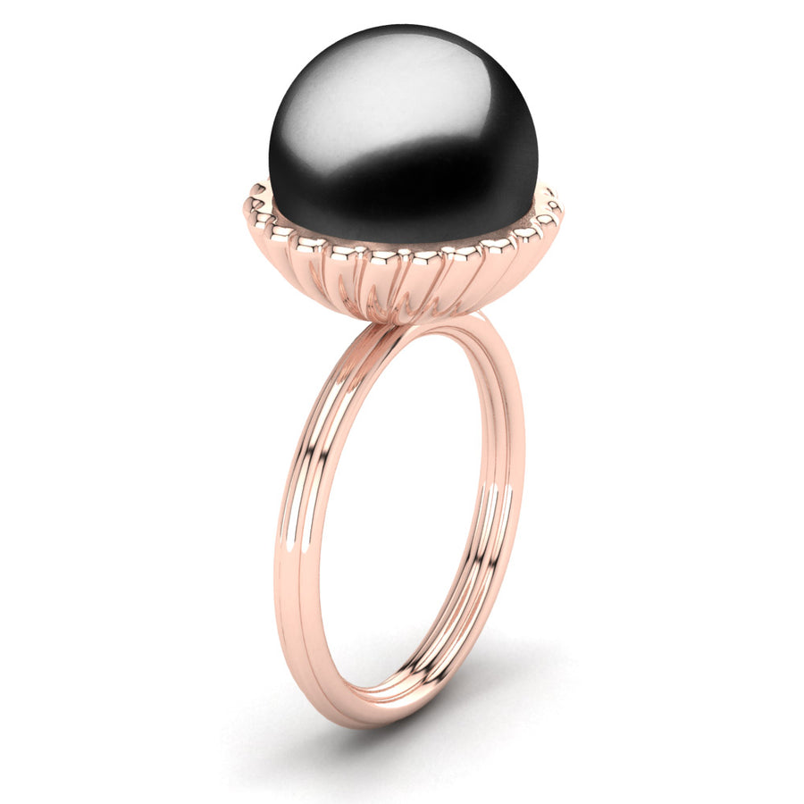 Swirl Pearl Ring-18K Rose Gold-Tahitian-Black