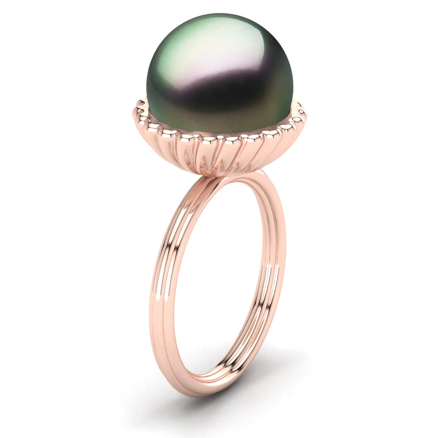 Swirl Pearl Ring-18K Rose Gold-Tahitian-Peacock