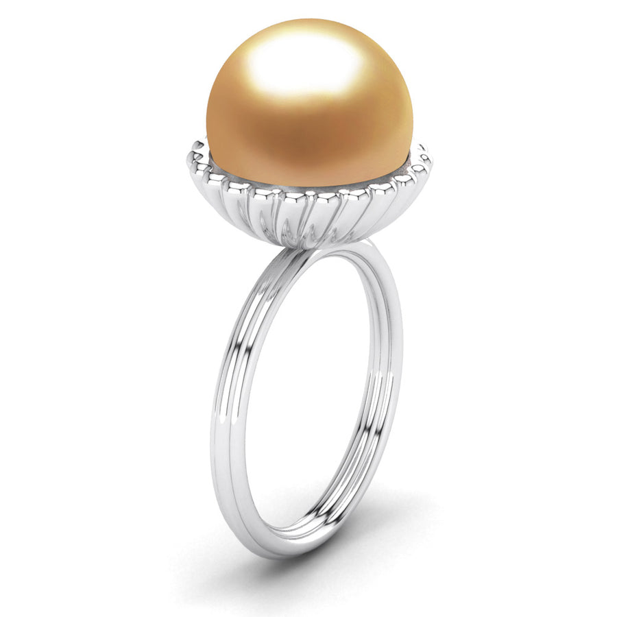 Swirl Pearl Ring-Platinum-South Sea Golden-Deep Golden