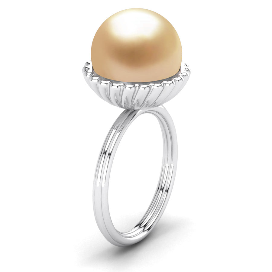 Swirl Pearl Ring-Platinum-South Sea Golden-Golden