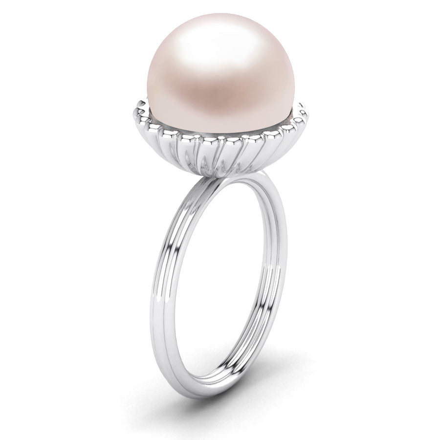 Swirl Pearl Ring-Platinum-South Sea-South Sea Rose