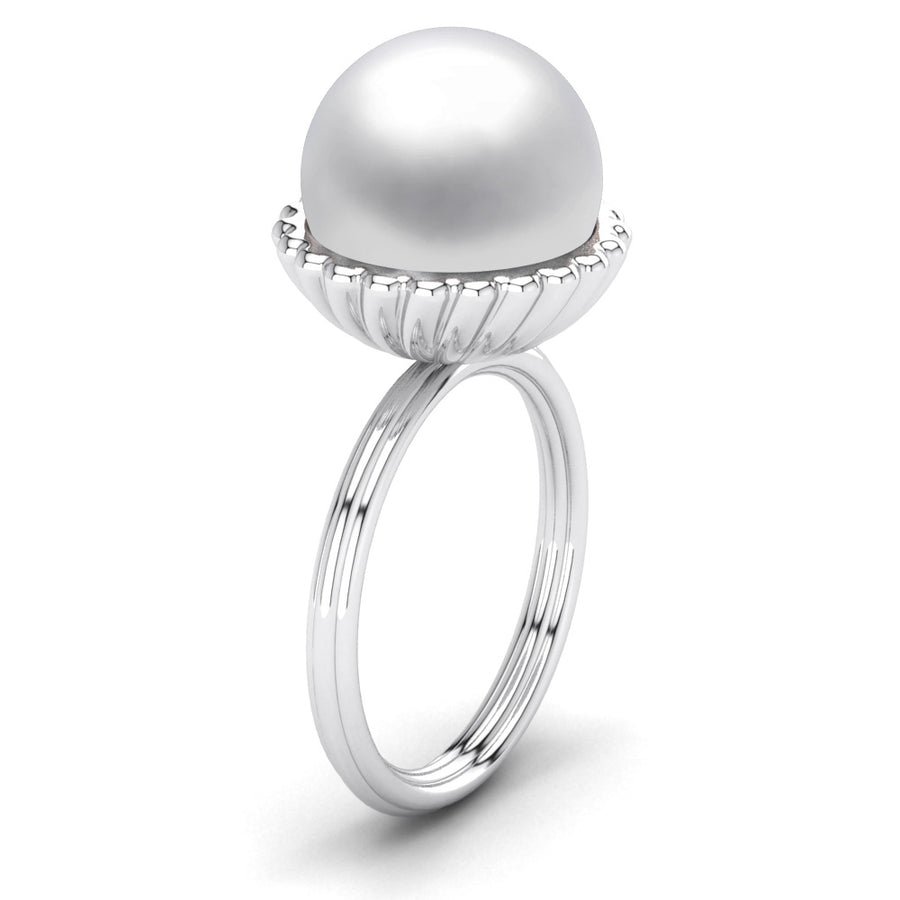Swirl Pearl Ring-Platinum-South Sea-South Sea White