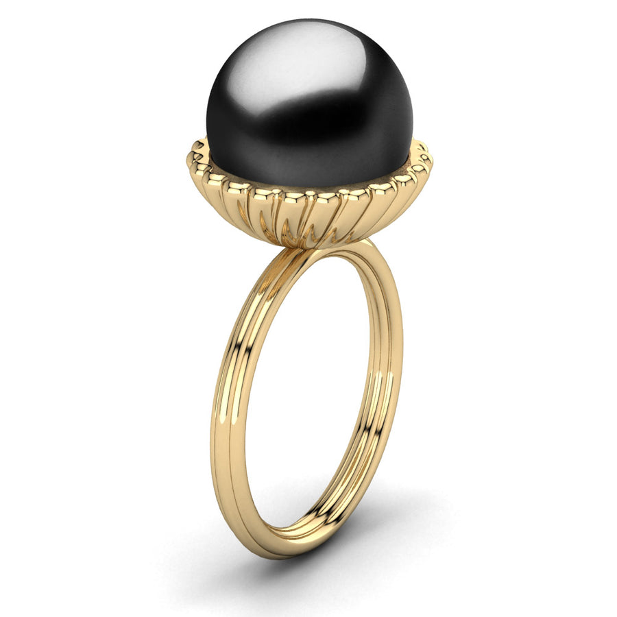Swirl Pearl Ring-18K Yellow Gold-Tahitian-Black