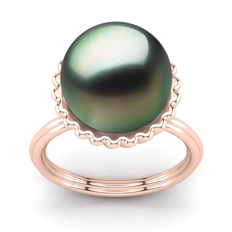 Swirl Pearl Ring-18K Rose Gold-Tahitian-Green