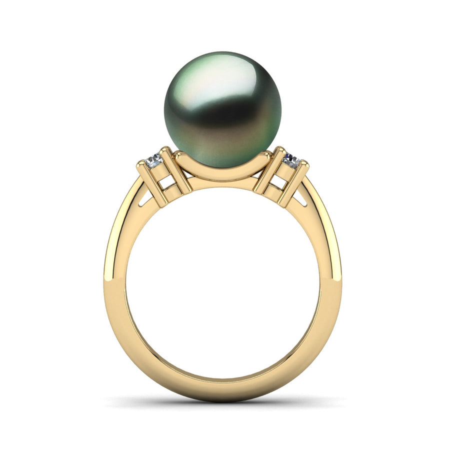 Generations Pearl Ring-18K Yellow Gold-Tahitian-Green
