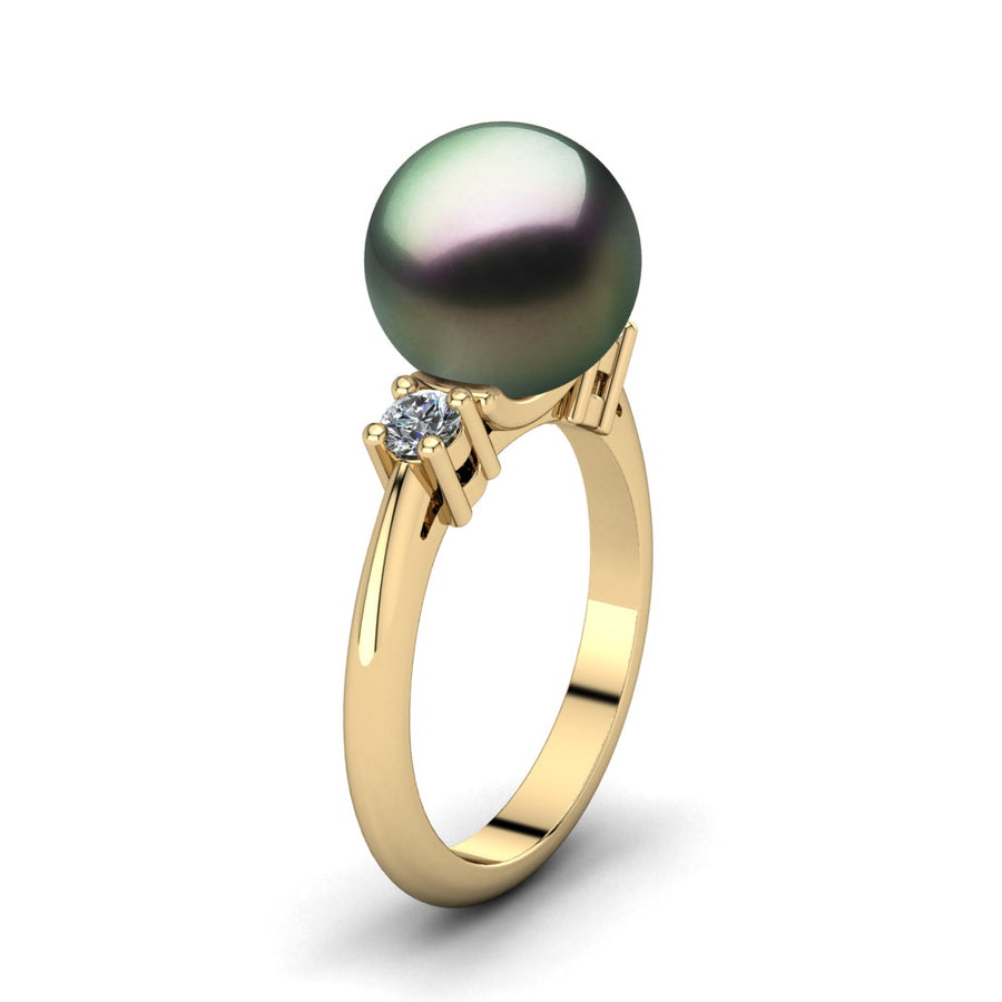 Generations Pearl Ring-18K Yellow Gold-Tahitian-Peacock