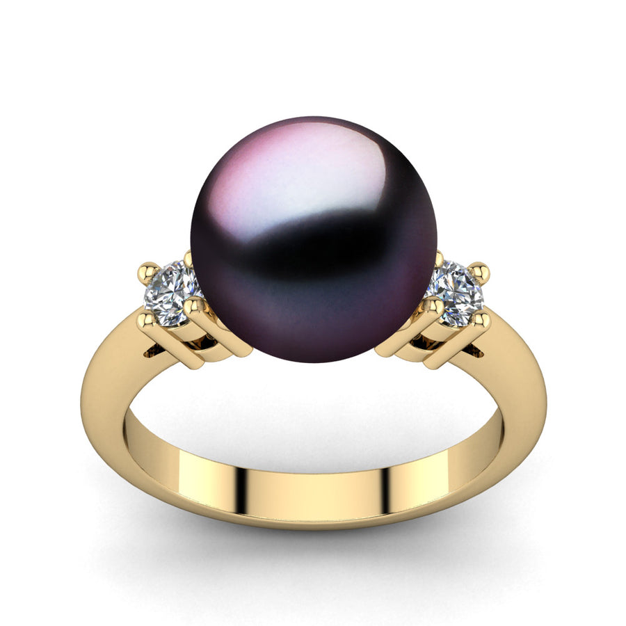 Generations Pearl Ring-18K Yellow Gold-Tahitian-Aubergine
