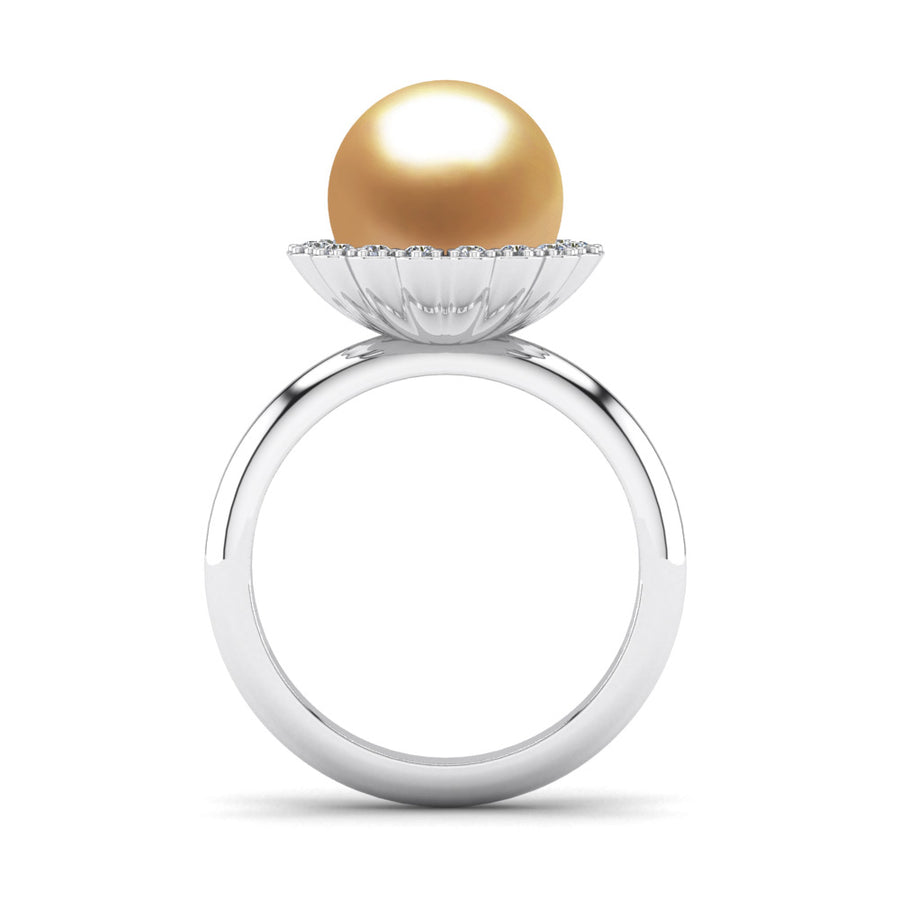 Ruff Pearl Ring-Platinum-South Sea Golden-Deep Golden