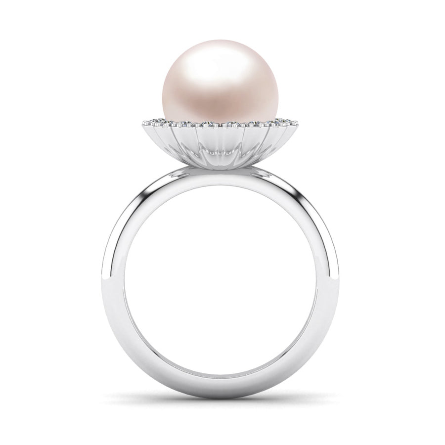 Ruff Pearl Ring-Platinum-South Sea-South Sea Rose