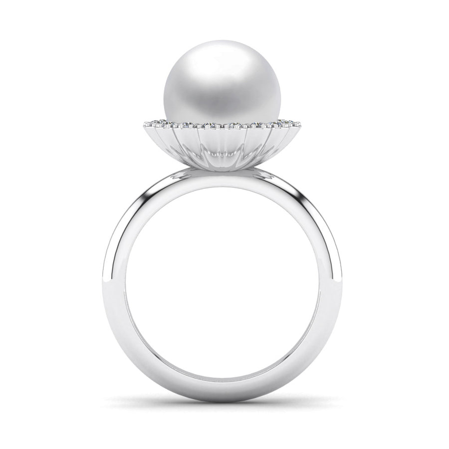 Ruff Pearl Ring-Platinum-South Sea-South Sea White