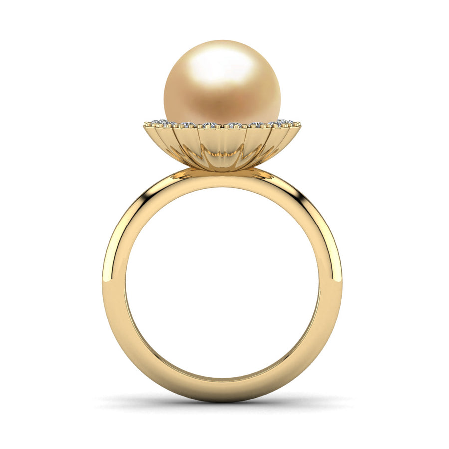 Ruff Pearl Ring-18K Yellow Gold-South Sea Golden-Golden