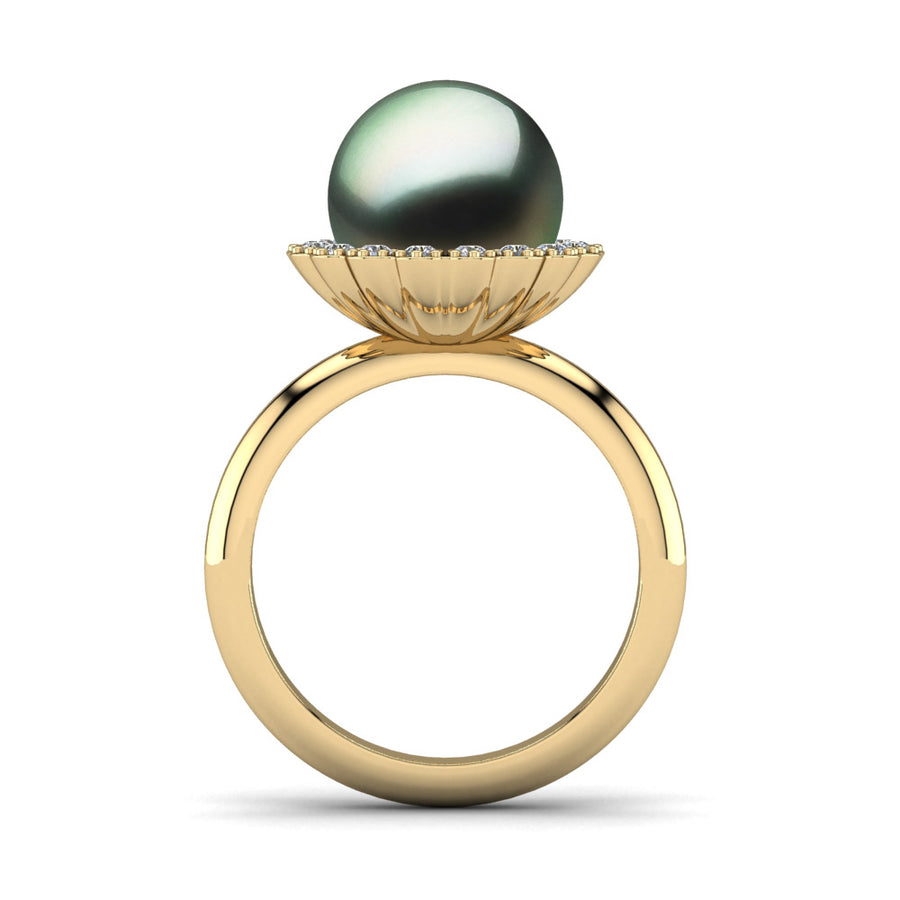 Ruff Pearl Ring-18K Yellow Gold-Tahitian-Green