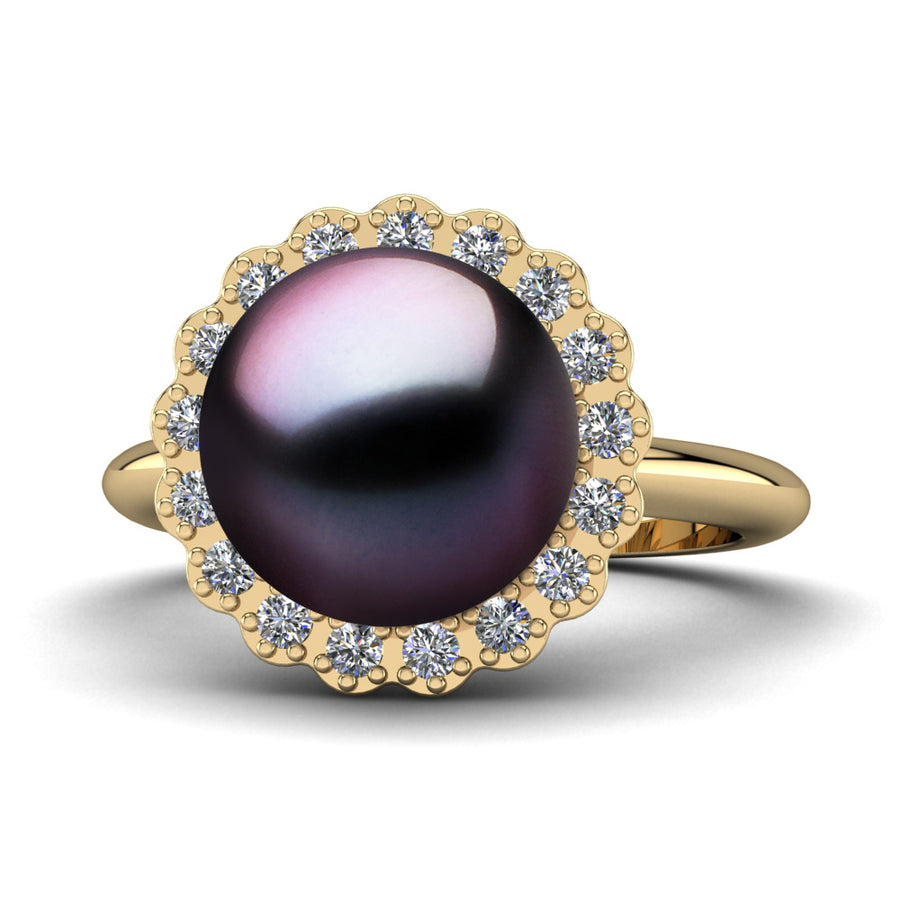 Ruff Pearl Ring-18K Yellow Gold-Tahitian-Aubergine
