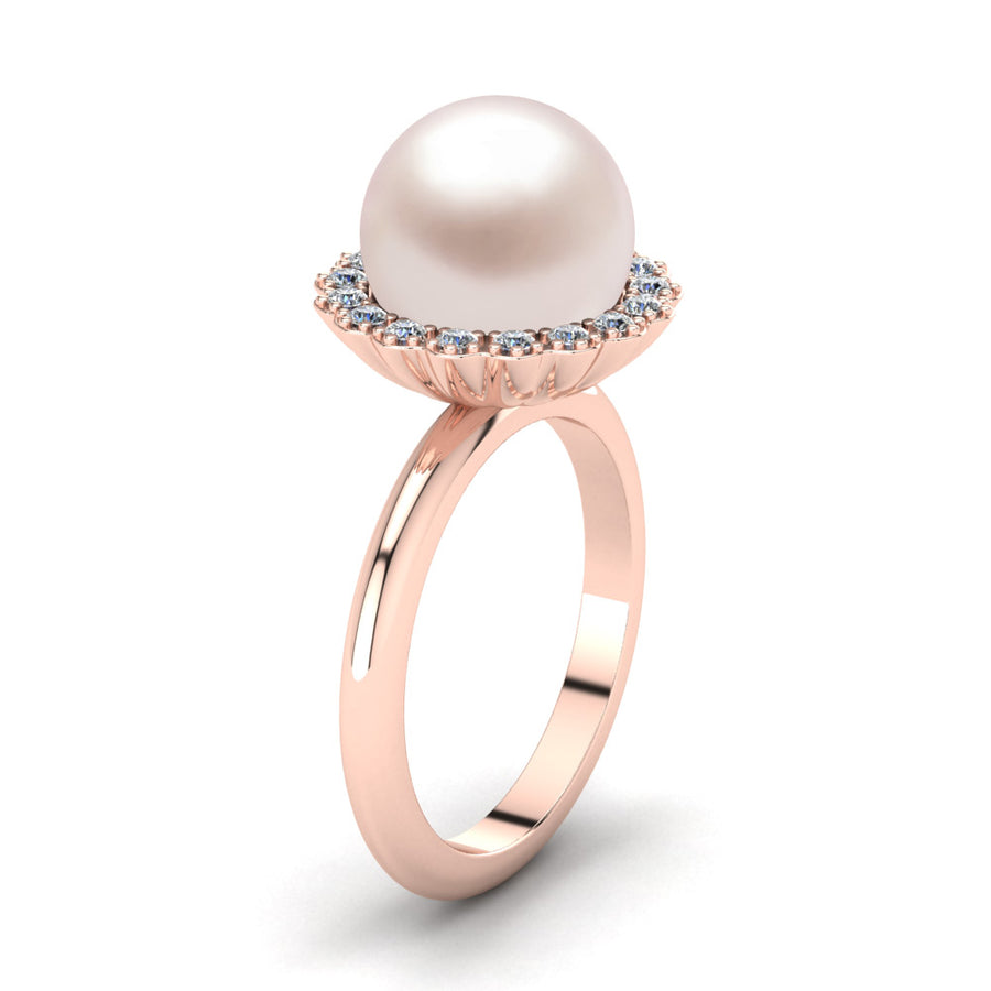 Ruff Pearl Ring-18K Rose Gold-South Sea-South Sea Rose