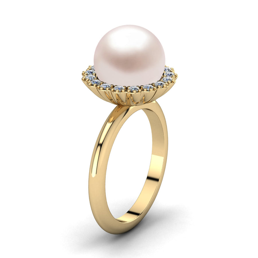 Ruff Pearl Ring-18K Yellow Gold-South Sea-South Sea Rose