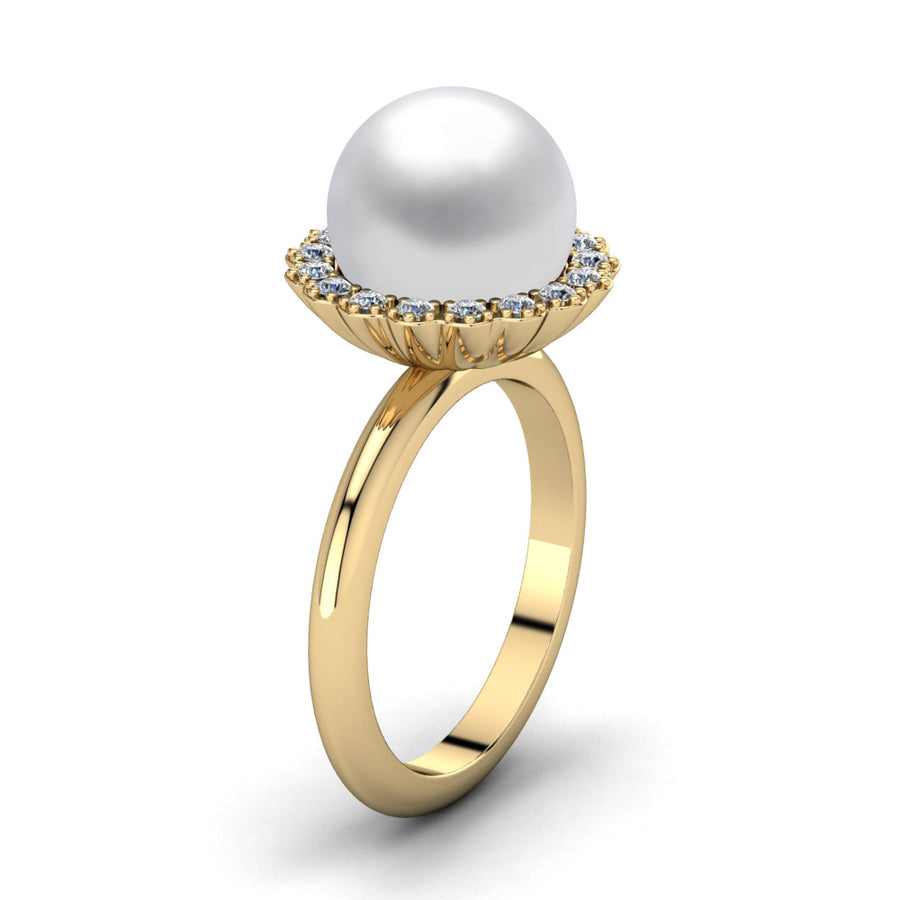 Ruff Pearl Ring-18K Yellow Gold-South Sea-South Sea White