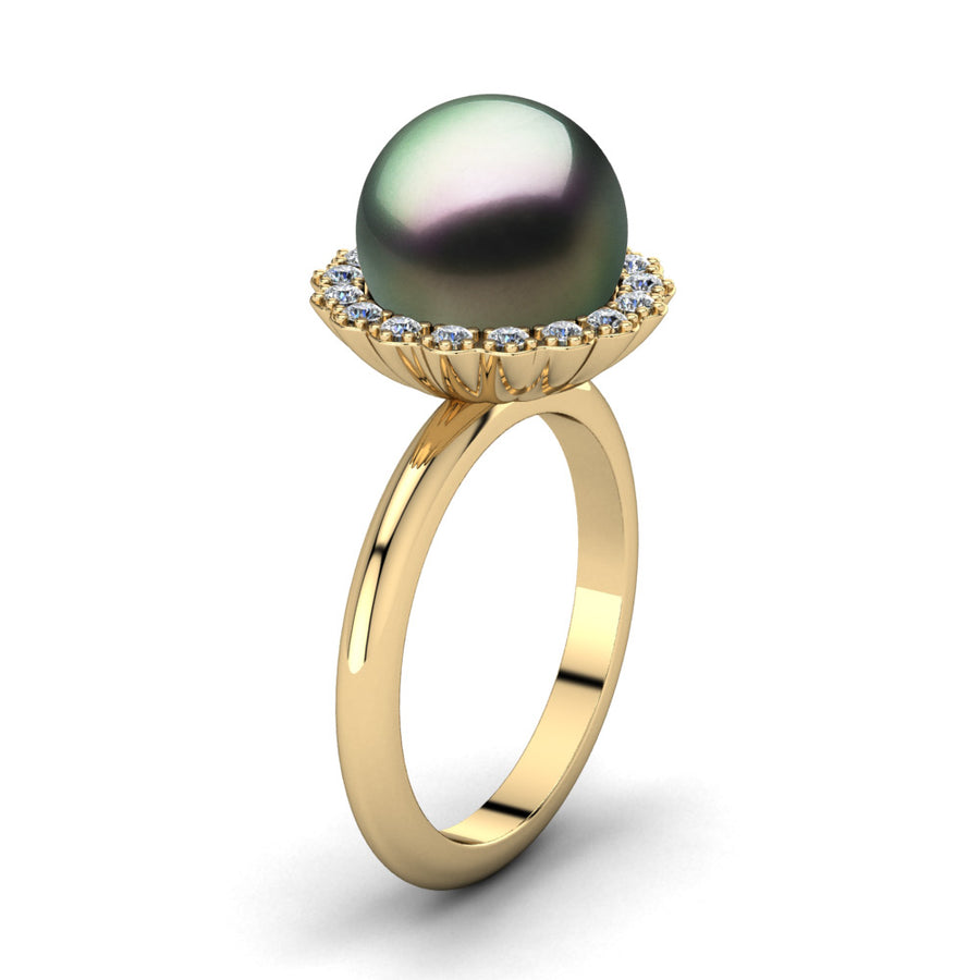 Ruff Pearl Ring-18K Yellow Gold-Tahitian-Peacock