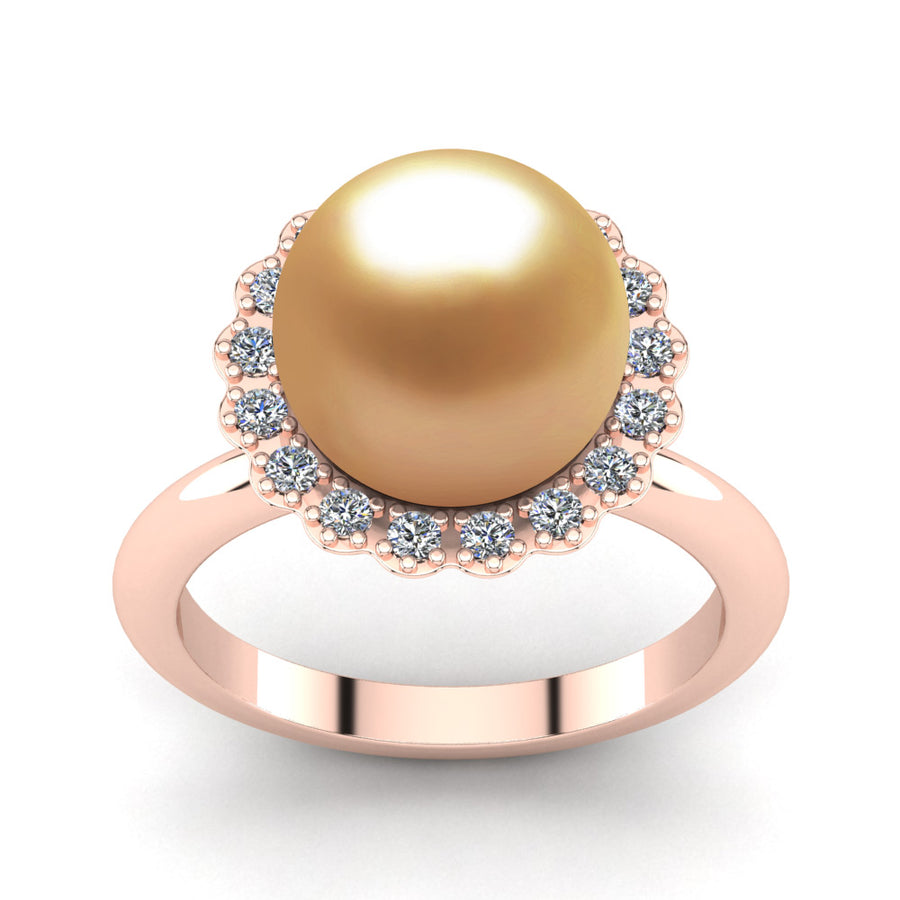 Ruff Pearl Ring-18K Rose Gold-South Sea Golden-Deep Golden