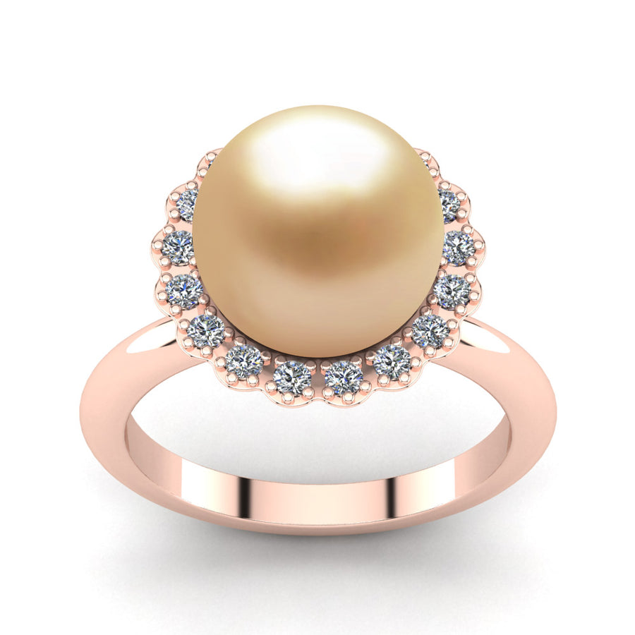 Ruff Pearl Ring-18K Rose Gold-South Sea Golden-Golden