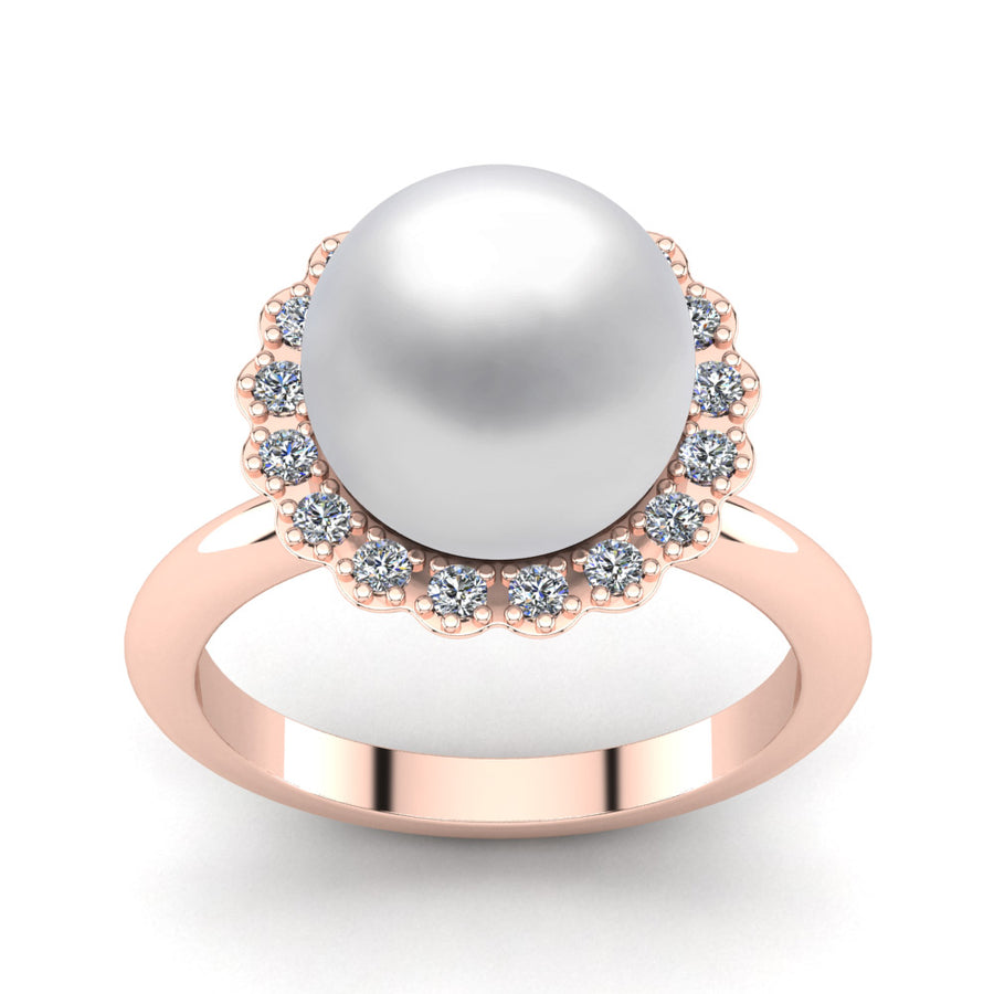 Ruff Pearl Ring-18K Rose Gold-South Sea-South Sea White