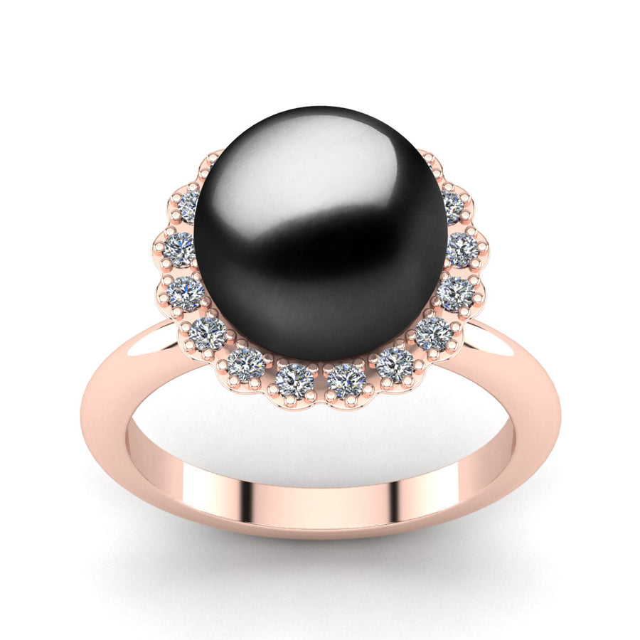 Ruff Pearl Ring-18K Rose Gold-Tahitian-Black