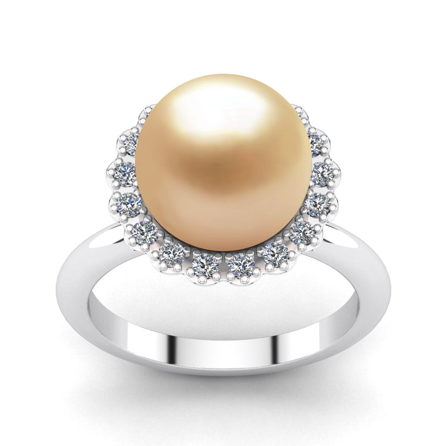 Ruff Pearl Ring-Platinum-South Sea Golden-Golden