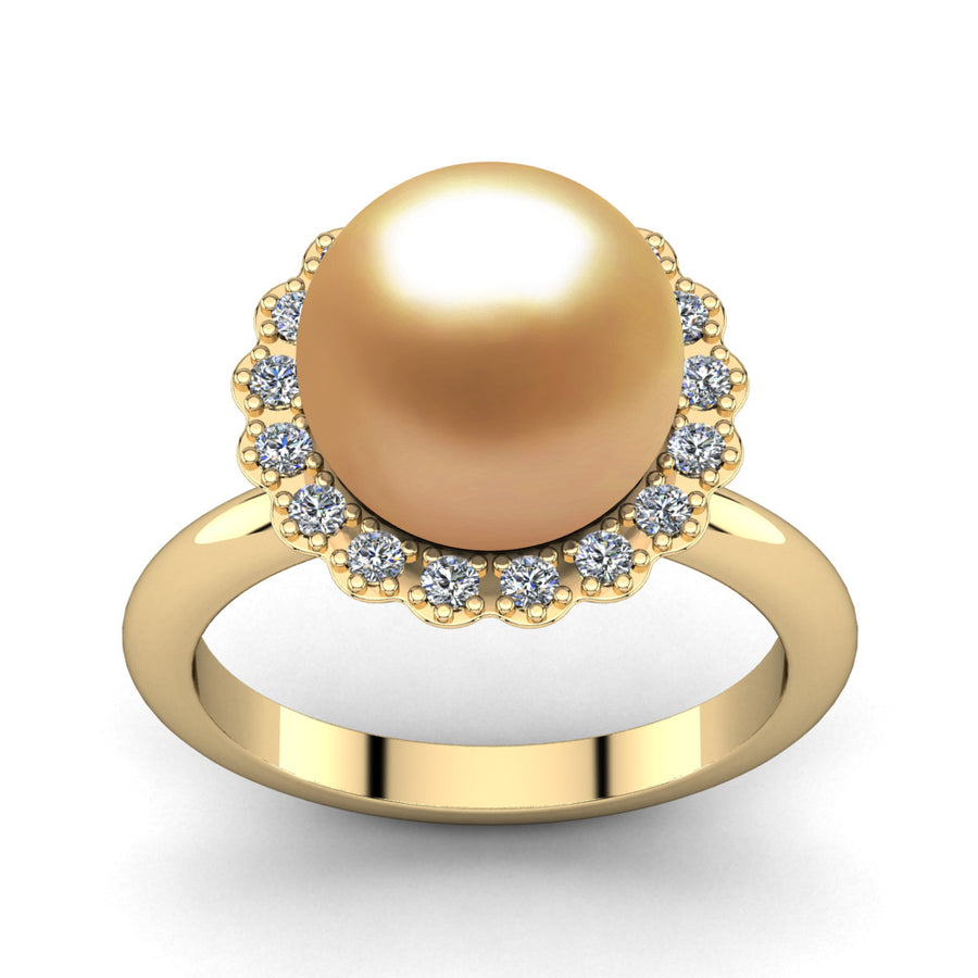 Ruff Pearl Ring-18K Yellow Gold-South Sea Golden-Deep Golden