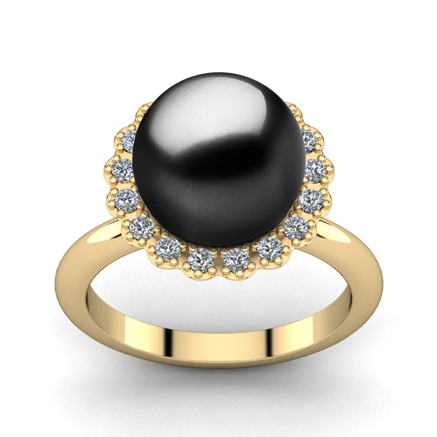 Ruff Pearl Ring-18K Yellow Gold-Tahitian-Black