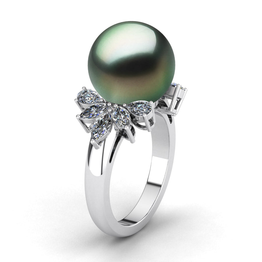 Diamond Petals Pearl Ring - Scale Test