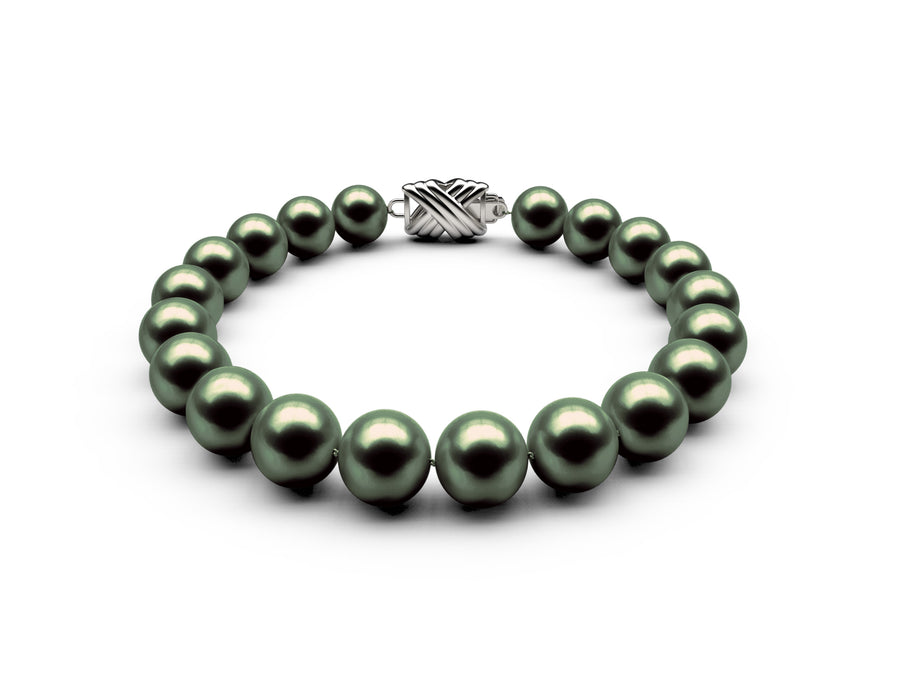 8.5-9mm AA Black-Green Freshwater Bracelet