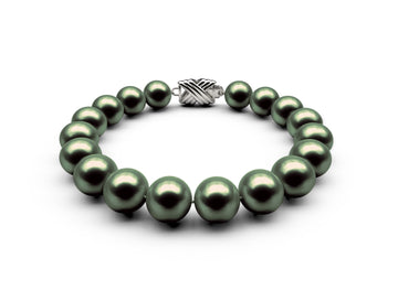 9.5-10mm AAA Black-Green Freshwater Bracelet