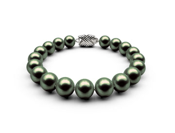 9-9.5mm AA Black-Green Freshwater Bracelet