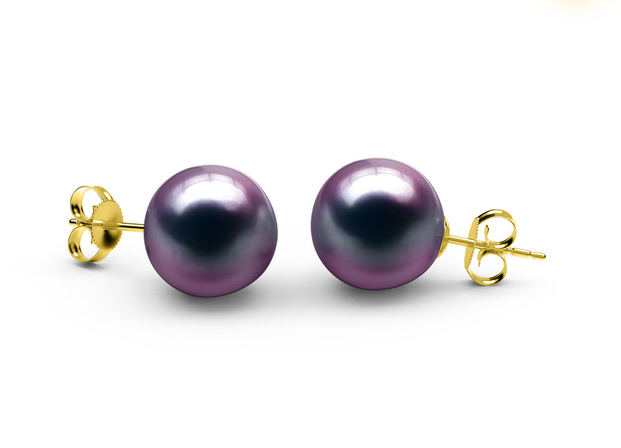 Aubergine Tahitian Earrings - AA