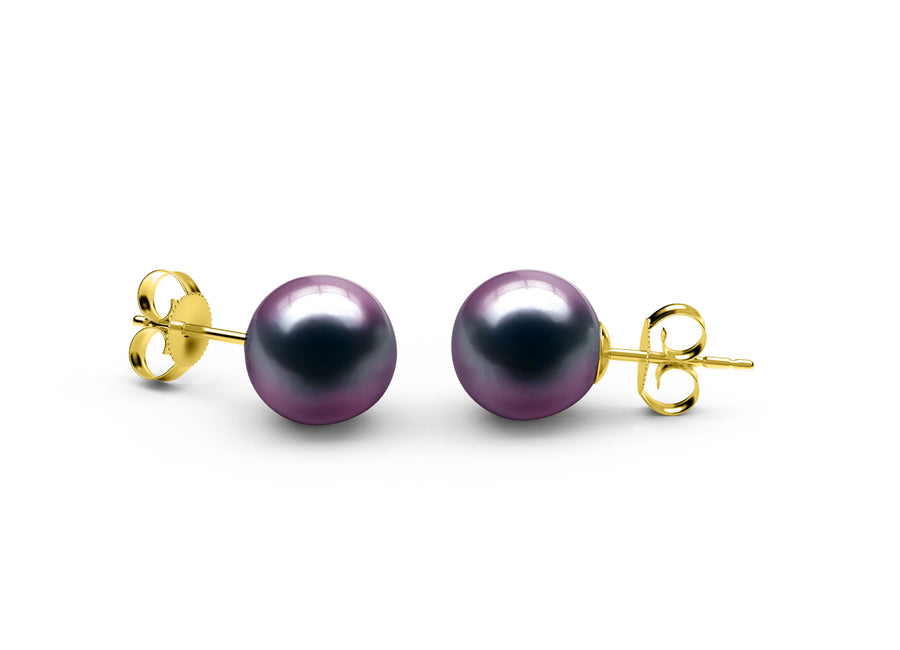 Aubergine Tahitian Earrings - AAA