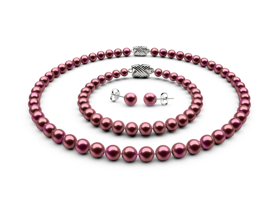 6.5-7mm AA Cranberry Freshwater Complete Set