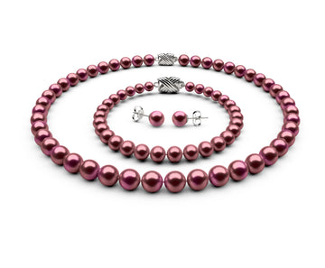 7.5-8mm AAA Cranberry Freshwater Complete Set