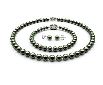 7-7.5mm AAA Black-Green Freshwater Complete Set
