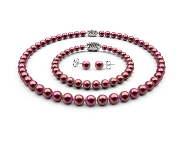 7-7.5mm AA Cranberry Freshwater Complete Set