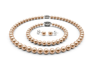 7-7.5mm AA Peach Freshwater Complete Set