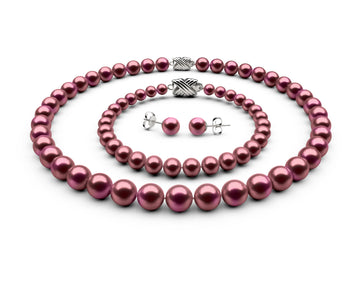 8.5-9mm AA Cranberry Freshwater Complete Set