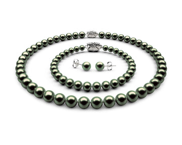 8-8.5mm AAA Black-Green Freshwater Complete Set