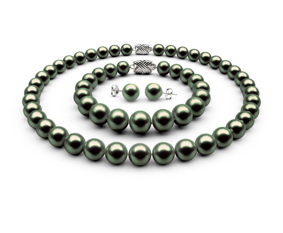 9-9.5mm AAA Black-Green Freshwater Complete Set