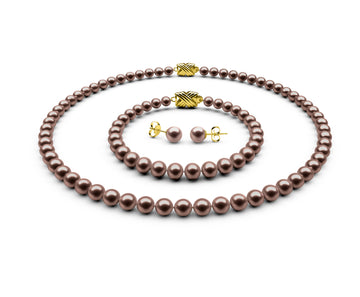 5.5-6mm AA Chocolate Freshwater Complete Set