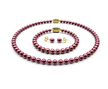 5.5-6mm AA Cranberry Freshwater Complete Set