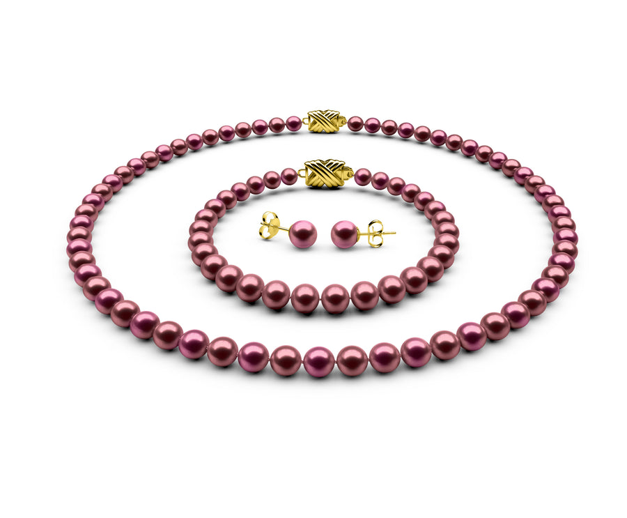 5.5-6mm AAA Cranberry Freshwater Complete Set
